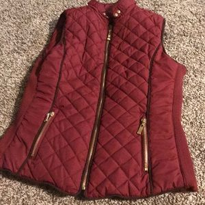 Maroon quilted vest